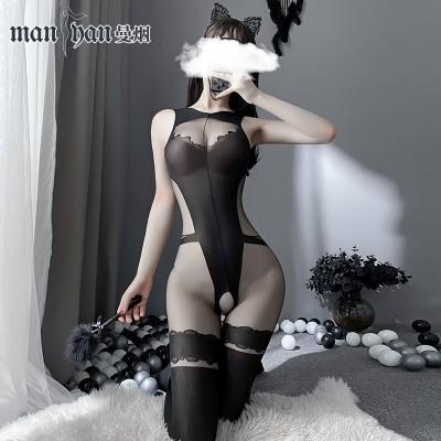 【天猫】曼烟性感透视后背镂空旗袍式吊带开裆连身袜9322