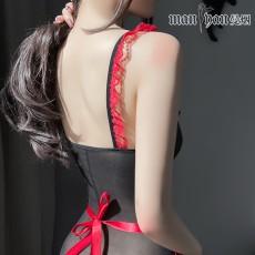 【天猫】曼烟情趣内衣性感透视吊带紧身连体衣护士装开档9970