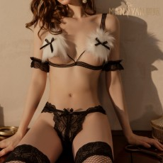 【天猫】网红风曼烟性感蕾丝三点毛绒兔女郎开档免脱制服诱惑套装9552