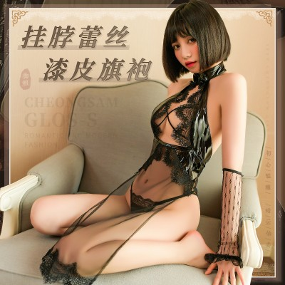 【天猫】曼烟情趣内衣性感镂空透视挂脖蕾丝漆皮睡裙旗袍9905