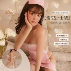 【天猫】曼烟性感镂空蕾丝抹胸粉色短裙包臀护士装1626