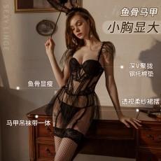 【天猫】曼烟欧美性感透视网纱吊带马甲蓬蓬裙套装9868