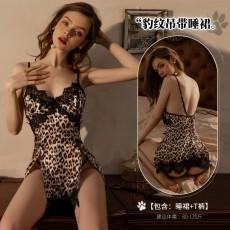 【天猫】曼烟情趣内衣性感镂空蕾丝拼接吊带豹纹小野猫情趣睡裙套装9879