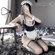 【天猫】曼烟情趣内衣性感吊带紧身收腰连体衣女仆装9121