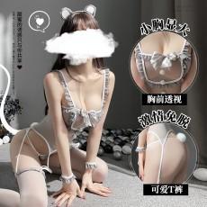【天猫】曼烟情趣内衣性感透视蕾丝花边吊带可爱萌小鼠连体套装制服9969