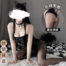 【天猫】曼烟情趣丝袜性感透视抹胸后背镂空桑格花连身袜开裆免脱7163