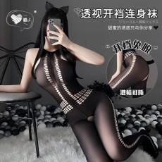 【天猫】曼烟情趣丝袜 性感透视镂空塑身 旗袍式开裆连身袜诱惑WY7174