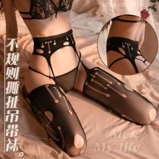 【曼烟】曼烟情趣内衣性感镂空不规则图形吊袜带一体丝袜长筒袜吊带袜7223