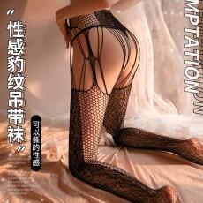 【曼烟】曼烟情趣丝袜性感束腰镂空豹纹吊袜带一体长筒袜连裤袜吊带袜7228