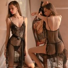 【曼烟】曼烟情趣内衣性感吊带深V蕾丝透视后背镂空系带开叉裙摆长裙1763