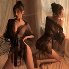 【天猫】曼烟情趣内衣性感深V睫毛蕾丝花边透视外罩衫绑带睡裙套装1840